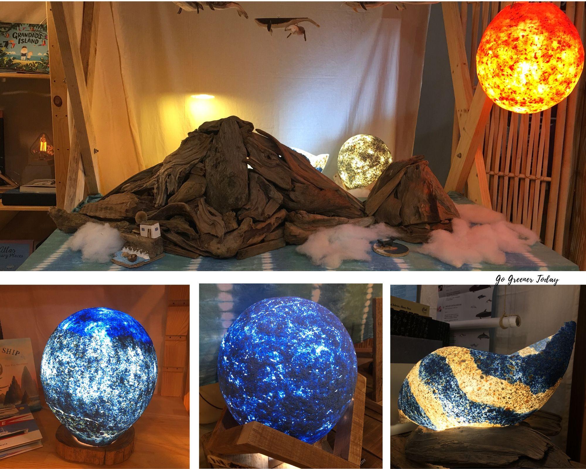 海藻燈與漂流木搭建的龜山島 (沒有固定漂流木,只是放上去)