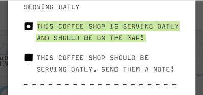 這間咖啡廳目前提供Oatly,應該要在地圖上!