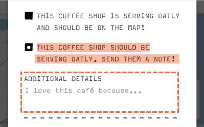 這間咖啡廳應該要提供Oatly,給他們一些資訊吧!