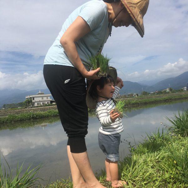 宜蘭三星行健有機村 小朋友走在田埂上好開心